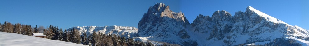 View from Alpe di Siusi to the Langkofel in winter.